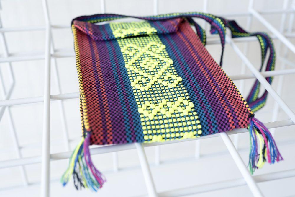 Multi-color woven satchel